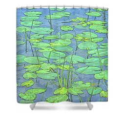 Lily Pads -coloring Book Effect Shower Curtain by Constantine Gregory