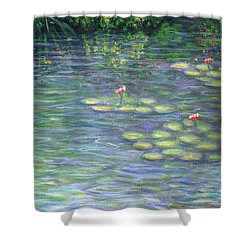 Lily Pads Triptych Part Three Shower Curtain by Linda Mears