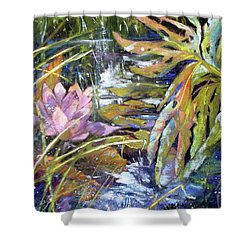 Lily Pond Light Dance Shower Curtain by Rae Andrews