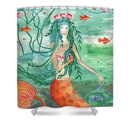 Lily Pond Mermaid With Goldfish Snack Shower Curtain by Sushila Burgess