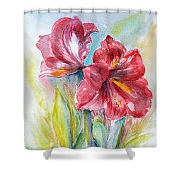 Lily Red Shower Curtain by Jasna Dragun