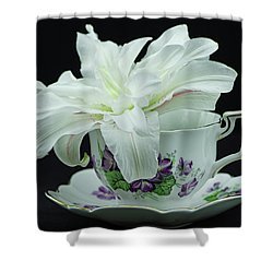 Lily With Teacup Shower Curtain