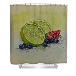 Lime And Berries Shower Curtain by Kelly Mills