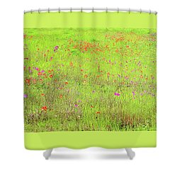 Shower Curtain featuring the digital art Lime And Hot Pink Field by Ellen Barron O'Reilly