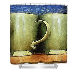Lime Green Cups Shower Curtain by Paulette B Wright