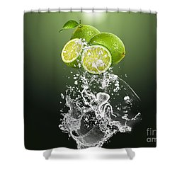 Lime Splash Shower Curtain by Marvin Blaine