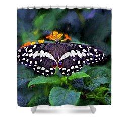 Lime Swallow Tail Shower Curtain by James Steele