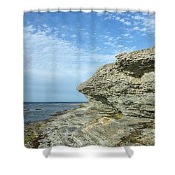 Shower Curtain featuring the photograph Limestone Cliffs by Kennerth and Birgitta Kullman