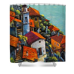 Shower Curtain featuring the painting Limone Del Garda by Mikhail Zarovny