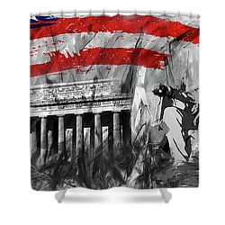 Shower Curtain featuring the painting Lincoln Abe by Gull G