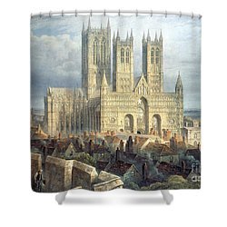 Lincoln Cathedral From The North West Shower Curtain by Frederick Mackenzie
