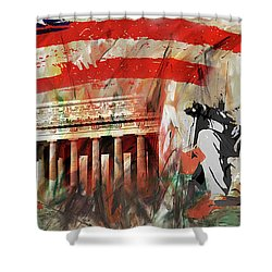 Shower Curtain featuring the painting Lincoln Memorial And Lincoln Statue by Gull G