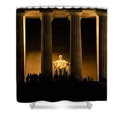 Lincoln Memorial Illuminated At Night Shower Curtain by Panoramic Images