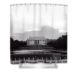 Lincoln Memorial Sunset In Black And White Shower Curtain