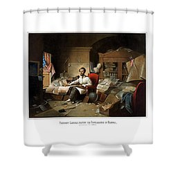 Lincoln Writing The Emancipation Proclamation Shower Curtain by War Is Hell Store