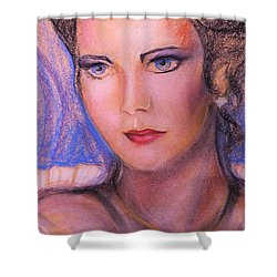 Shower Curtain featuring the pastel Linda Carter by Denise Fulmer