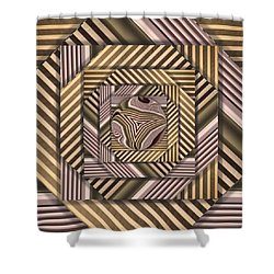 Line Geometry Shower Curtain