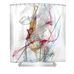 Shower Curtain featuring the digital art Line Pattern By Nico Bielow by Nico Bielow
