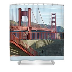 Linear Golden Gate Bridge Shower Curtain