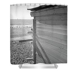 Lines In Ostia Beach Shower Curtain