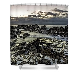 Lines Of Time Shower Curtain by Mark Lucey