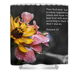 Shower Curtain featuring the photograph Lingering Droplets by Deborah Klubertanz