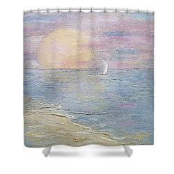 Shower Curtain featuring the painting Lingering Freedom by Judith Rhue