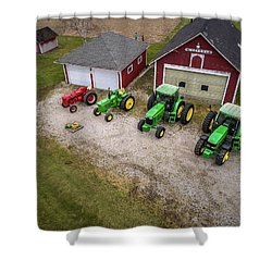 Lining Up The Tractors Shower Curtain