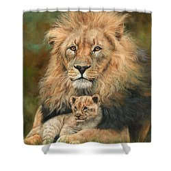 Shower Curtain featuring the painting Lion And Cub by David Stribbling