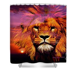 Lion And Eagle In A Sunset Shower Curtain by Annie Zeno