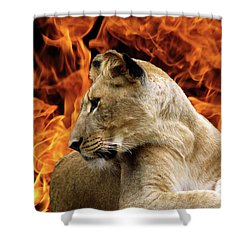 Lion And Fire Shower Curtain