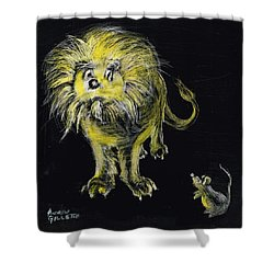 Shower Curtain featuring the drawing Lion And The Mouse by Andrew Gillette