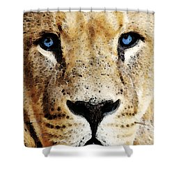 Lion Art - Blue Eyed King Shower Curtain by Sharon Cummings