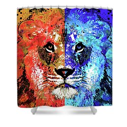 Shower Curtain featuring the painting Lion Art - Majesty - Sharon Cummings by Sharon Cummings