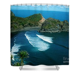 Lion Beach Piha New Zealand Shower Curtain by Mark Dodd