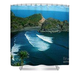 Shower Curtain featuring the photograph Lion Beach Piha New Zealand by Mark Dodd