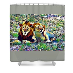 Lion Buddies Shower Curtain