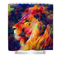 Lion Shower Curtain by Elena Kosvincheva