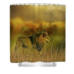 Lion In The Mist Shower Curtain by Diane Schuster