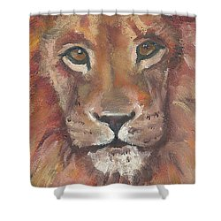 Lion Shower Curtain by Jessmyne Stephenson