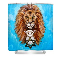 Shower Curtain featuring the painting Lion Lies Down With A Lamb by Bob and Nadine Johnston