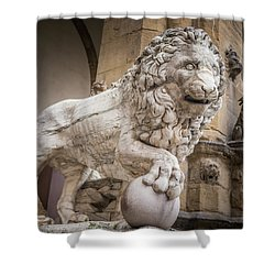 Lion On The Porch Shower Curtain