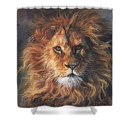 Shower Curtain featuring the painting Lion Portrait by David Stribbling
