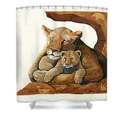 Shower Curtain featuring the painting Lion - Protect Our Children Painting by Linda Apple