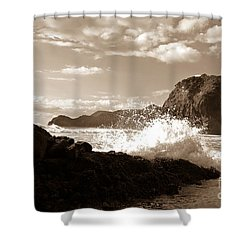 Lion Rock On Piha Beach, New Zealand Shower Curtain