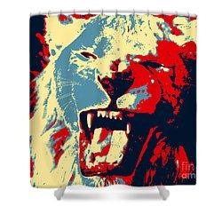 Warhol Lion Shower Curtain by John Rizzuto