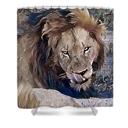 Lion With Tongue Shower Curtain