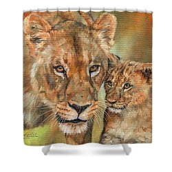 Shower Curtain featuring the painting Lioness And Cub by David Stribbling