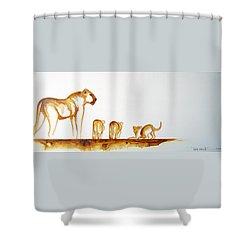 Lioness And Cubs Small - Original Artwork Shower Curtain