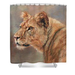 Shower Curtain featuring the painting Lioness Portrait by David Stribbling